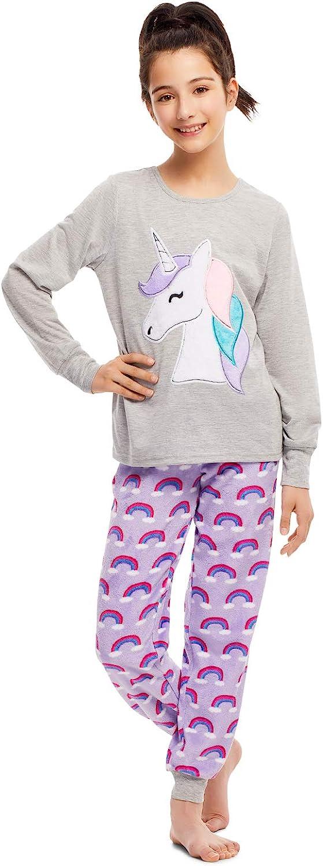 Girls 2 Piece Plush Pajama Set - Long Sleeve Top & PJ Pants