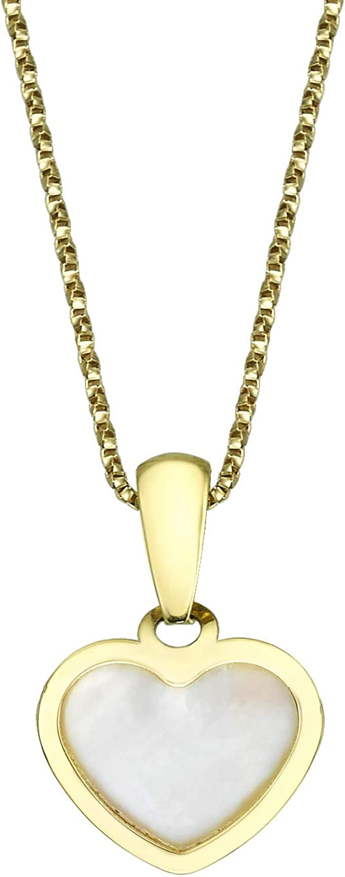 14k Yellow Gold Round Mother Of Pearl Diamond Accents Pendant Necklace