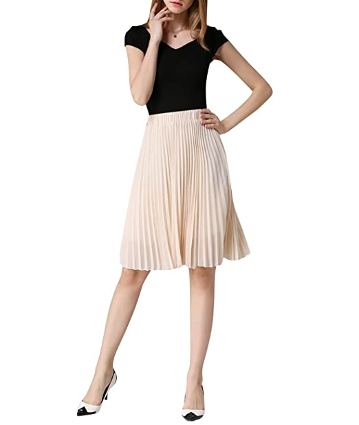 3a498f401 Women's Midi Skirts Chiffon Pleated Knee-Length Summer Wear One Size Beige