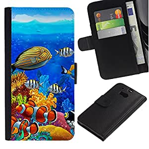 """HTC One M8 , la tarjeta de Crédito Slots PU Funda de cuero Monedero caso cubierta de piel ("""" Diving Fish Tropical Blue Ocean Water"""")"""