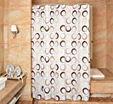 YJ Bear Brown Yellow Circle Polyester Mildew Resistant Shower Curtain Anti-bacterial Bath Decor Waterproof Home Decoration Bathroon White Curtain 71'' X 71''