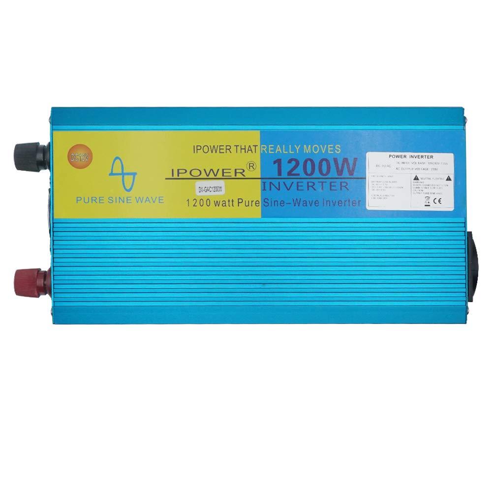yinleader invertitore di corrente Onda sinusoidale Pura 1200/W 2400/W trasformatore di 12/V A 230/V Inverter con 1/presa spina E LCD per auto Camper Barca campeggio da viaggio