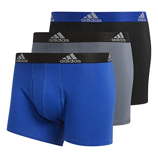 b892582595cb adidas Men's Stretch Cotton Trunks Underwear (3-Pack), Bold Blue/Black