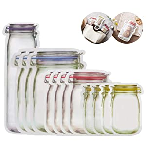 Mason Jar Zipper Bags,Food Storage Snack Sandwich Ziplock Bags,Reusable Airtight Seal Food Storage Bags,Leakproof Food Saver Bags for Travel Camping and Kids(Tallx1+Lx3+Mx4+Sx4)