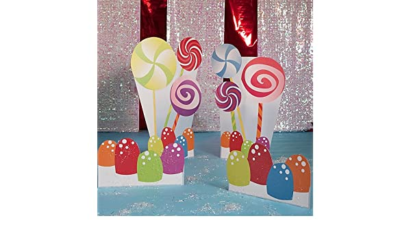 Candy swirl lollipops Candy land decorations green red and purple photo standee