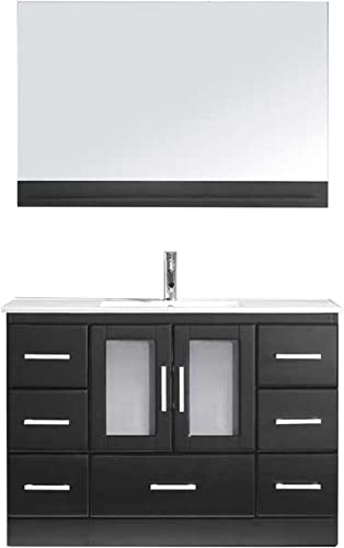 Virtu USA MS-6748-C-ES-001 Zola 48 Single Bathroom Vanity White Ceramic Top and Square Sink with Brushed Nickel Faucet and Mirror, 48 inches, Dark Espresso