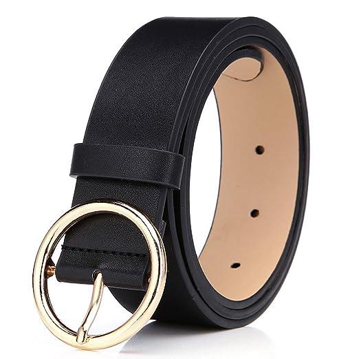 86a7b84f3 Amazon.com: BestWare Round Buckle Belt Casual Belt Wide Leather Belt ...