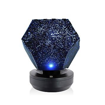 Lixada Luz de Nocturna LED Lámpara de Proyector Estrellas Galaxia Cósmica Sueño Infantil Luz de Noche con Alimentación USB