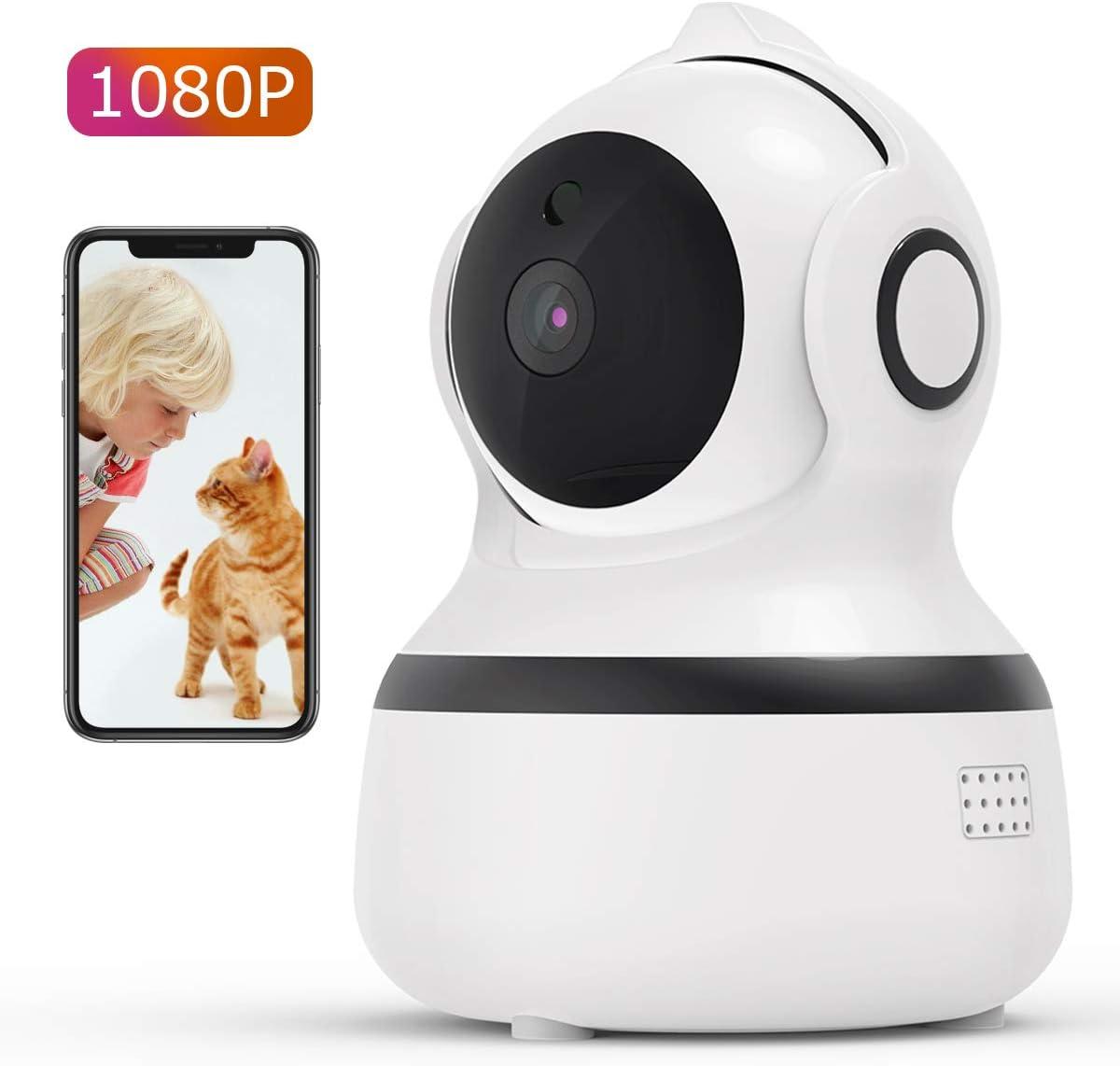 CACAGOO1080P Cámara IP WiFi,Cámara de Vigilancia FHD con Visión Nocturna,Detección de MovimientoMonitor para Bebe/Perros, Audio de 2 Vías, 2.4GHz WiFi, Compatible con iOS/Android