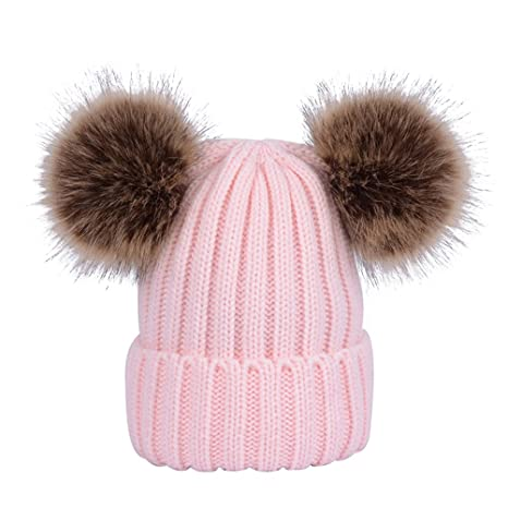 YEAHIBABY Baby Girls Boys Kids Winter Hat Warm Knitted Cap Toddler Earflap Beanies with Fluffy Balls for Kids 0-6 Years Old Black