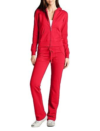 ec1ece4eafade NE PEOPLE Womens Casual Basic Terry Zip Up Hoodie Sweatsuit Tracksuit Set S-3XL  Red