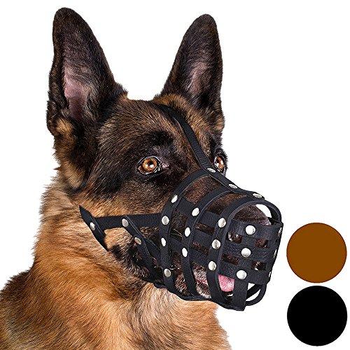 CollarDirect Dog Muzzle German Shepherd Leather Secure Basket - German Dog Shepherd Muzzle