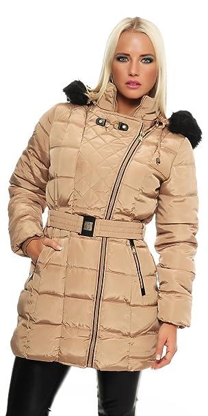 Fashion4Young 10963 Damen Steppmantel Steppjacke m. Kapuze u