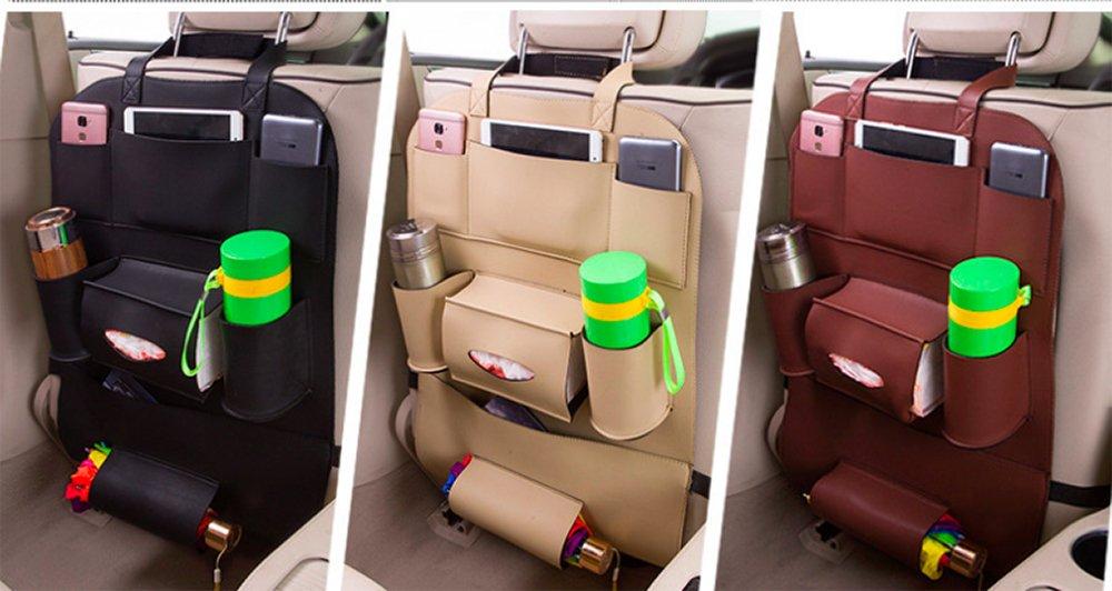 uso universal de coche asiento trasero Organizador para ni/ños Asiento de coche de vuelta organizador de piel sint/ética y iPad Mini soporte caja de pa/ñuelos botellas