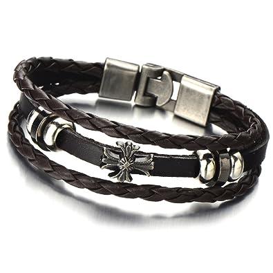 Amazon Com Coolsteelandbeyond Mens Cross Brown Braided Leather