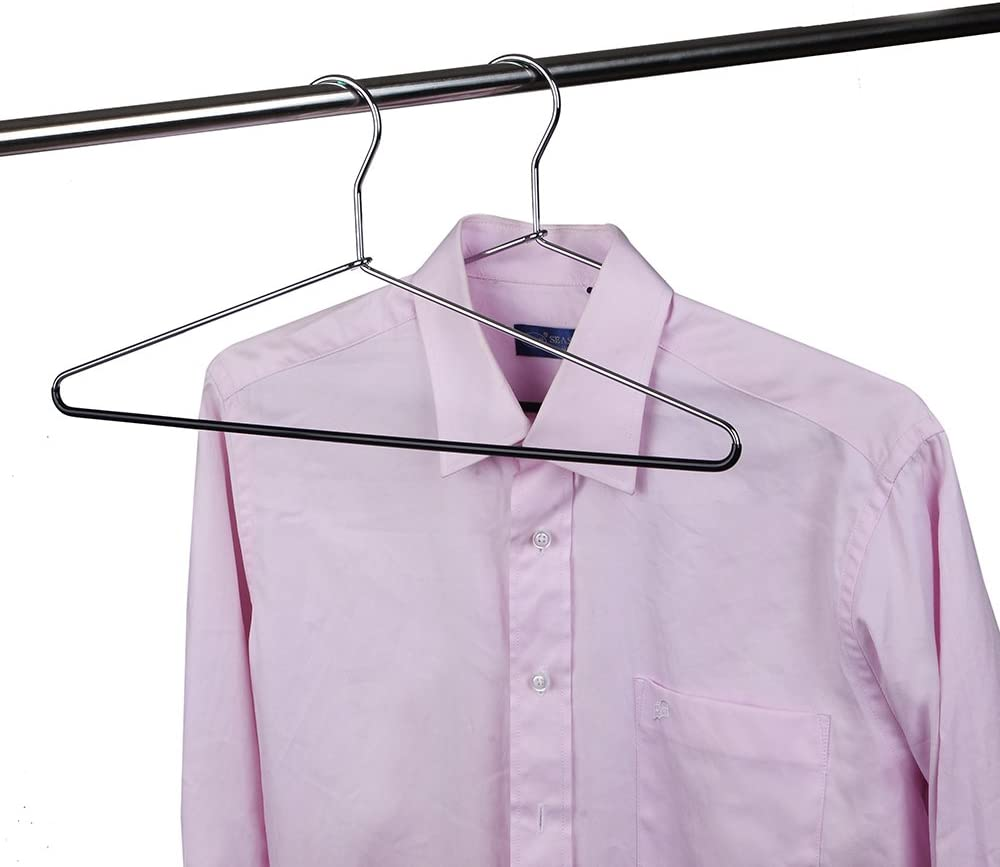 10 10 Metal Hangers Quality Heavy Duty Metal Coat Hangers with Non-Slip Rubber Coating for Pants