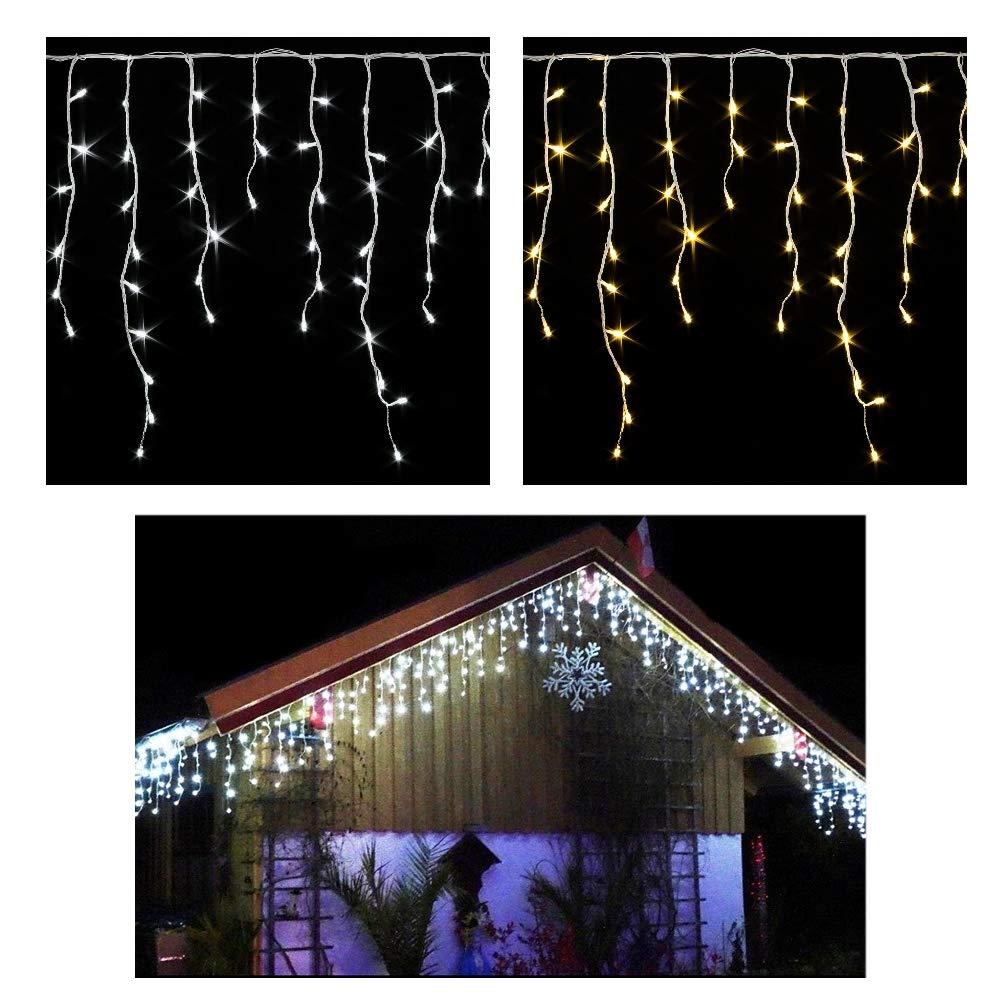 600/400 LED **Premium** EISREGEN WARMWEISS oder KALTWEISS~ges.20m / 15m~WEIHNACHT-Lichterkette~EISZAPFEN Effekt~IP44~WEIHNACHTSBELEUCHTUNG~WEIHNACHTSDEKO~EISREGENKETTE (600 LED WARMWEISS (ges. 20m) CUDEK LED PRODUCTS