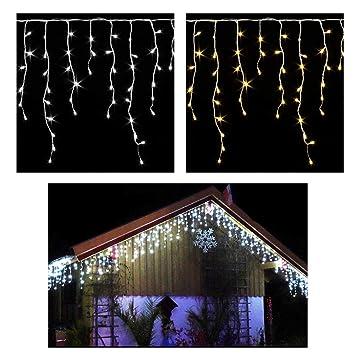 Weihnachtsdeko Lichterketten Außen.Garten Terrasse Led Eiszapfen Lichterkette 40 Leds Warmweiß