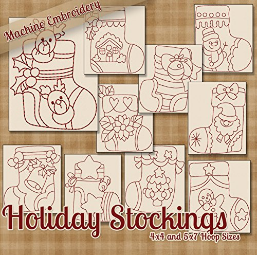 Holiday Stockings Christmas Redwork Embroidery Machine Designs on CD - Multiformat Pattern - Embroidery Redwork Machine Christmas