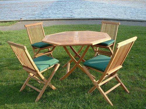 salon de jardin en teck BIARRITZ - Table Octogonale, 4 Chaises ...