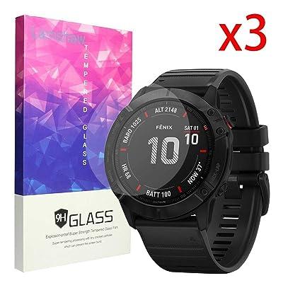 Compatible for Garmin Fenix 6X Pro Screen Protector, Blueshaw 9H Tempered Glass Screen Protector Compatible for Garmin Fenix 6X Pro Smartwatch - 2020 (3 Pack) [5Bkhe1509111]