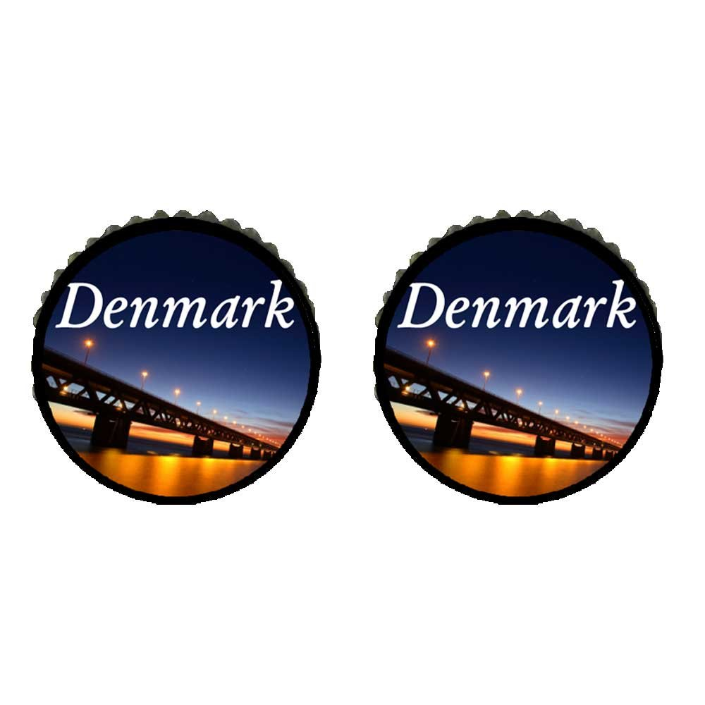GiftJewelryShop Bronze Retro Style the night in Denmark Photo Stud Earrings 10mm Diameter