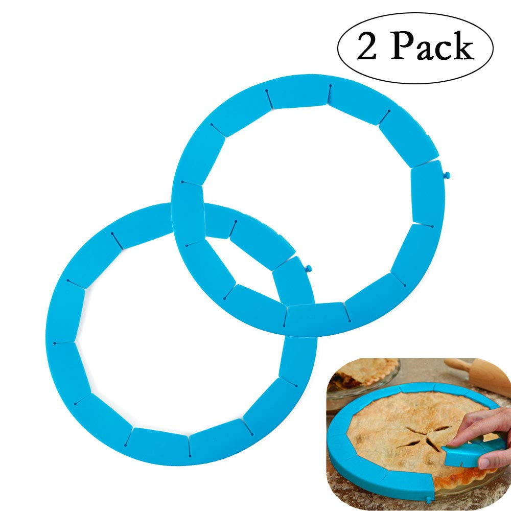 Neepanda Pie Crust Shield Adjustable Pie Crust Protector BPA-free FDA Food Safe Silicone Pie Shield Protector, Fits Any Size Pie 8 to 11.5-inch Including Rimmed Dishes(2 Pack, Blue) by Neepanda