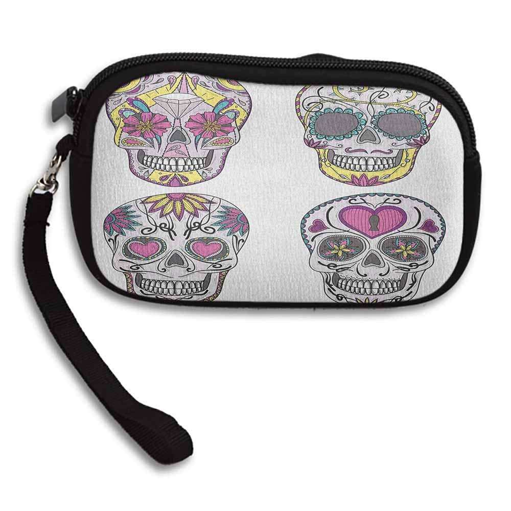 Skull Handbag Colorful Ornate Mexican Sugar Skull Set with Flower and Heart Pattern Calavera Humor W 5.9x L 3.7 Printed Change Coin Purse