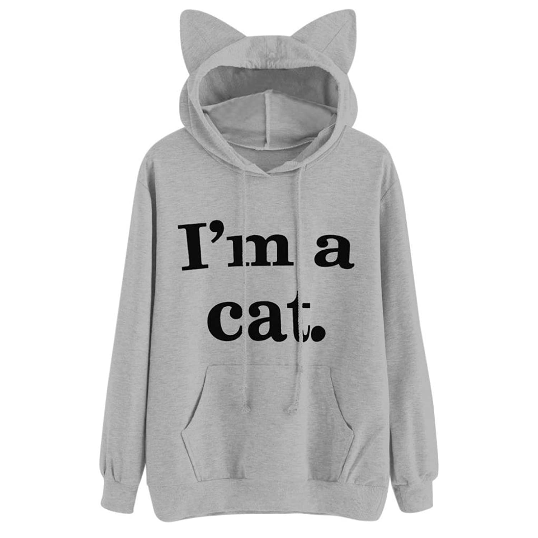 I'm a cat Damen Langarm Hoodie Kapuzenpullover Pulli T Shirt