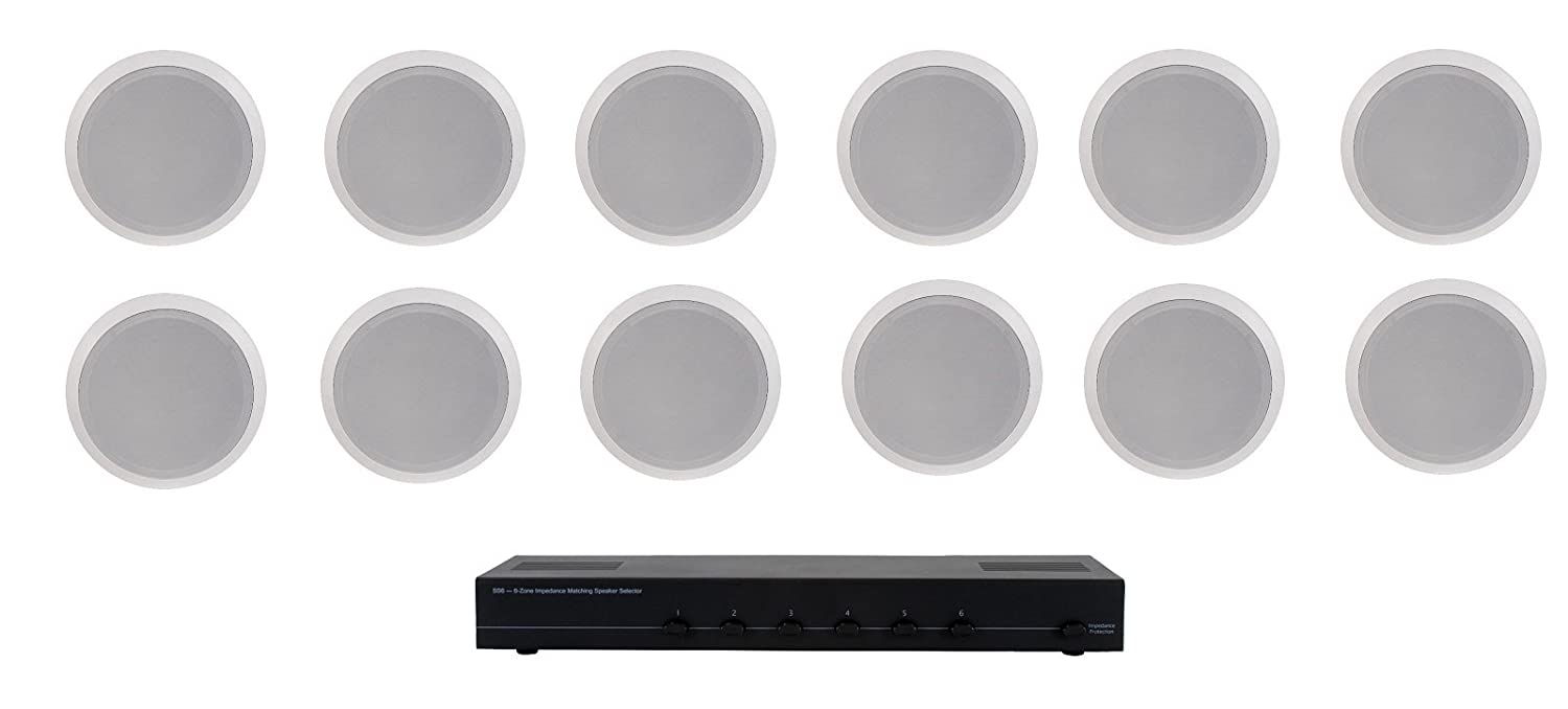 "Home Audio Whole House Speaker System- 12 Ceiling Speakers 6PR- Flush 5.25"" Round Speakers & Switcher"