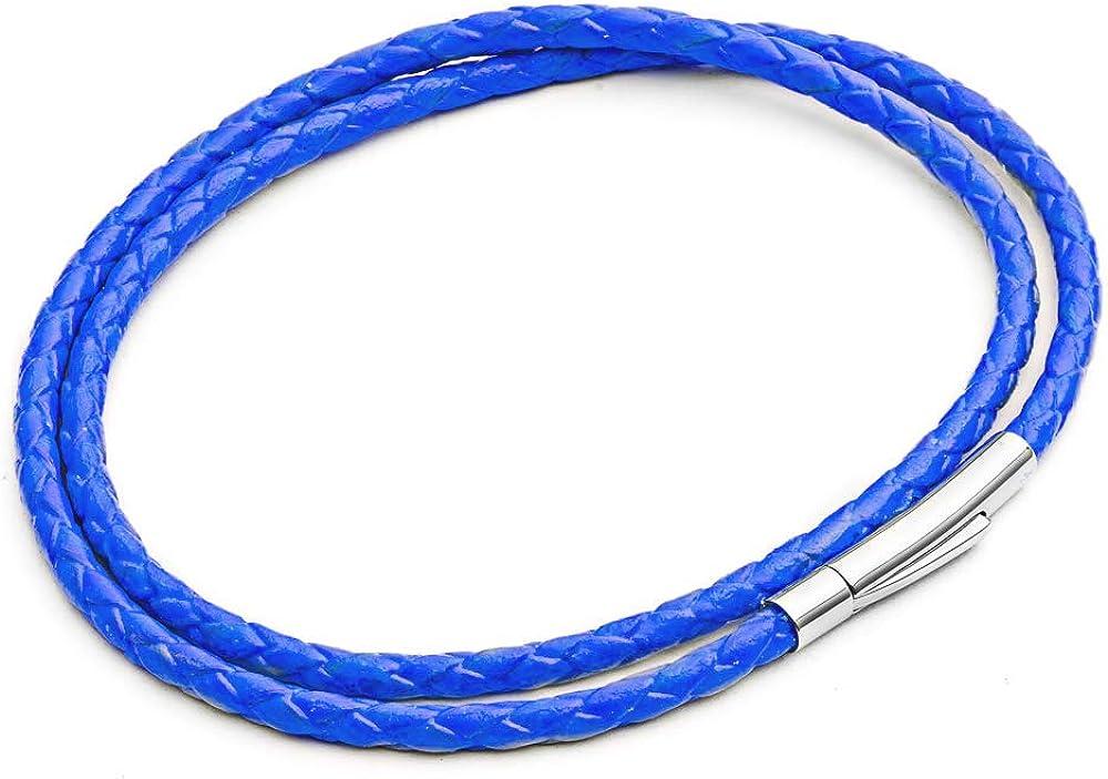 Tribal Steel - Pulsera de Piel Fina para Hombre, Color Azul neón, Doble Envoltura Alrededor de Cuero auténtico, Cierre Delgado Seguro. 21 cm es el tamaño estándar para Hombres, por Tribal Steel