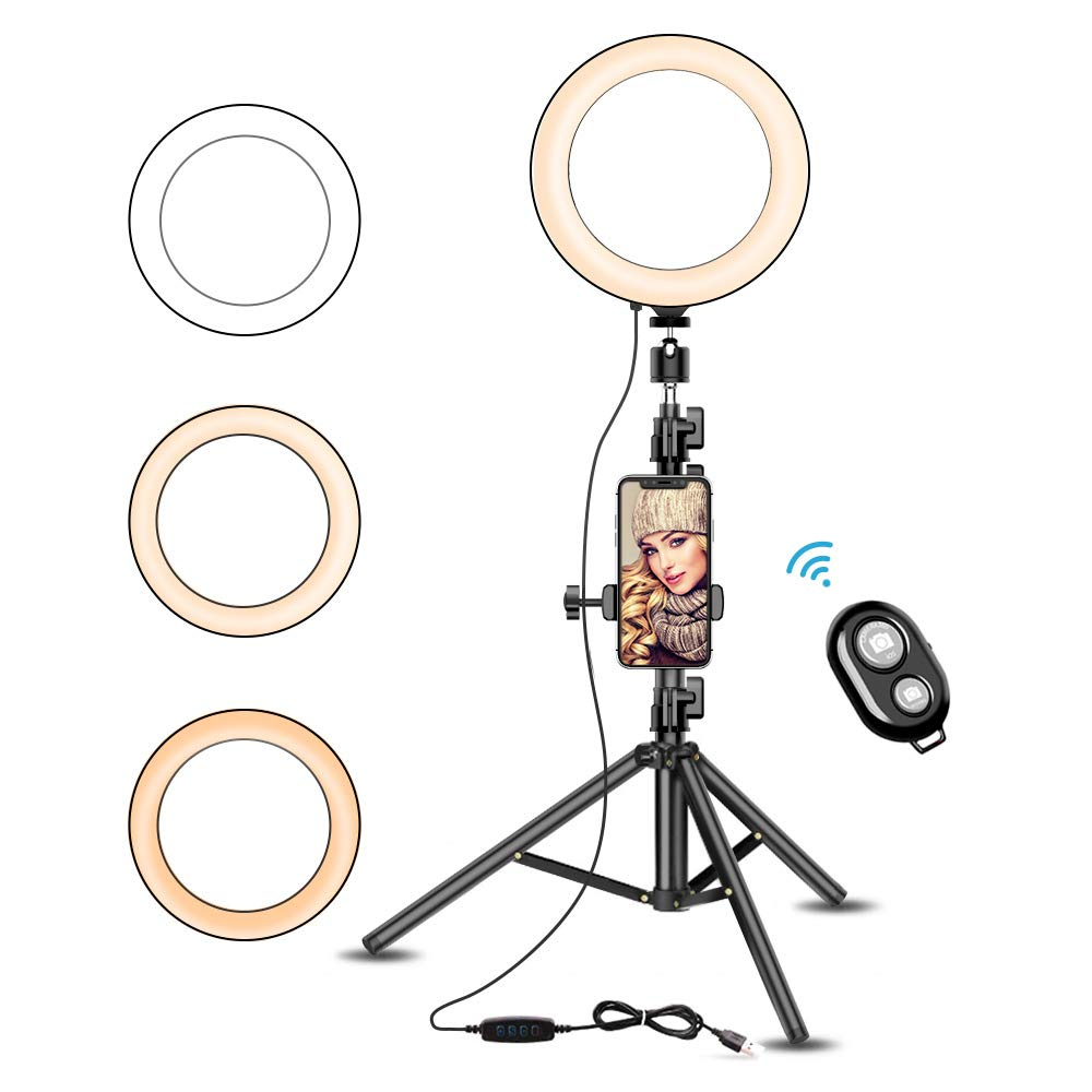 8'' Selfie Ring Light with Stable Tripod Stand & Cell Phone Holder for Live Stream Makeup YouTube Video, Vansware Dimmable LED Ring Light 3 Modes Wireless Remote Compatible with iPhone Android Phone by Vansware