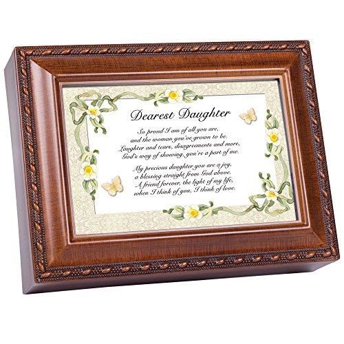 Cottage Garden Dearest Daughter Daffodil Woodgrain Music Box Plays Light Up My Life ()