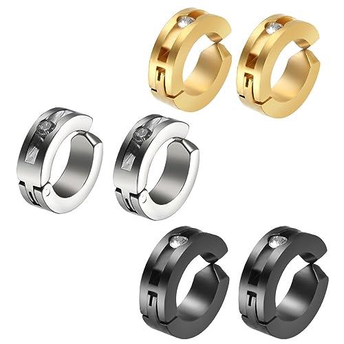 Flongo Zarcillos Pendientes Hombre Mujer Diamante de imitación Acero inoxidable Forma de círculo Estilo Perforado