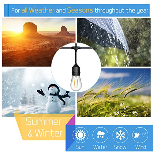 52ft LED Outdoor String Lights Commercial Grade Weatherproof - 20pack 2W Incandescent Bulbs Included - ETL Listed Heavy Duty - 18 Hanging Sockets - Perfect Patio Lights Bistro Market Cafe Lights by FrenchMay (Image #2)