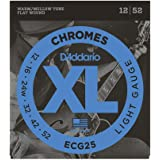 D'Addario, 4 XL Chromes Electric Guitar Strings, Light, 12-52 (ECG25)