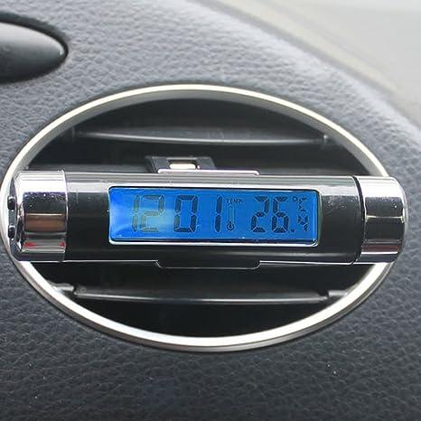 Nueva temperatura LCD de automóviles de coches Termómetro Monitor de tiempo Reloj Negro