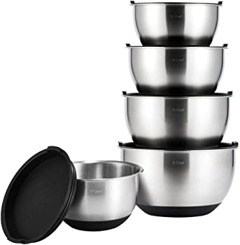 X-Chef Stainless Steel Mixing Bowls Set
