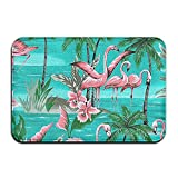 BINGO BAG Flamingo Party Paradise Island Indoor Outdoor Entrance Printed Rug Floor Mats Shoe Scraper Doormat For Bathroom, Kitchen, Balcony, Etc 16 X 24 Inch