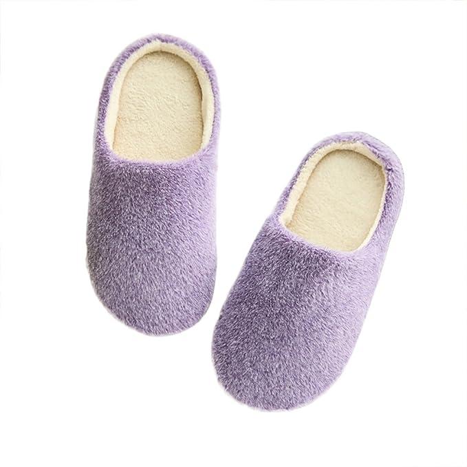 LUOEM Zapatillas de Estar por Casa Mujer Invierno Pantuflas Zapatillas Peluche Algodón Suave Morado: Amazon.es: Ropa y accesorios