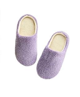 LUOEM Zapatillas de Estar por Casa Mujer Invierno Pantuflas Zapatillas Peluche Algodón Suave Morado