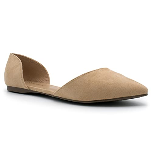 Breckelles Womens Faux Leather D'Orsay Pointed Toe Flats Natural Suede 6.5
