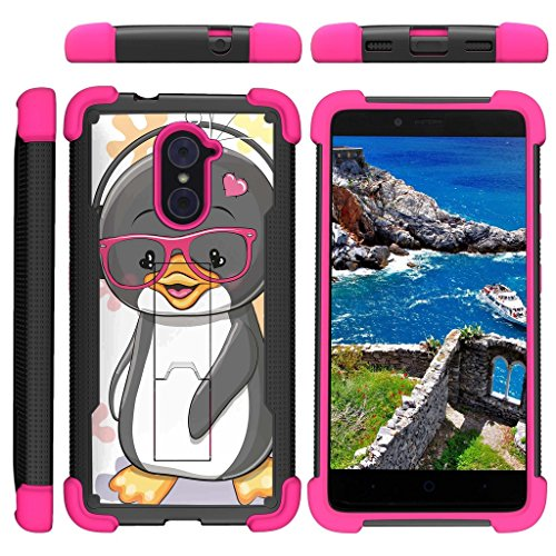 TurtleArmor | ZTE Imperial Max Case | Max Duo Case | Grand X Max 2 Case [Grip Combat] Rugged Impact Dual Resistant Armor Kickstand Defender Case Pink Designs - Cute Penguin