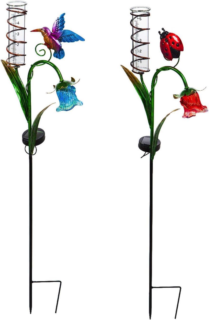 Ladybug and Hummingbird Solar Rain Gauge Garden Stake, Set of 2-10 x 3 x 35 Inches