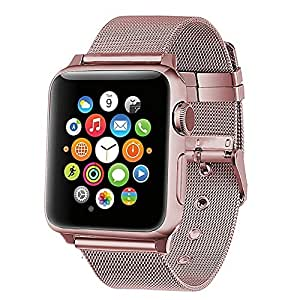 Apple Watch Band, KCOYO Adjustable Stainless Steel Fine Lines Replacement Apple Watch Band For Apple Watch 42mm And 38mm, Series 3 Series 2 Series 1 Sport And Edition (42mm rose gold)