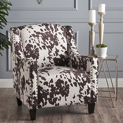Animal Print Arm Chair - Christopher Knight Home 301405 Elisabeth Arm Chair, Milk Cow + Dark Brown