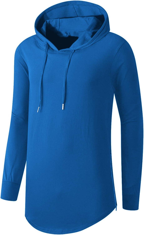 AIYINO Mens Hip Hop Short Sleeve/Long Sleeve Pullover Hoodies t Shirts B7-long Sleeve-blue