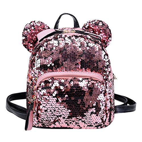 Backpacks Mini Women Shining Teenage Girls Sequins Travel Bags School Pink Prosperveil Party Aq58Stxw5
