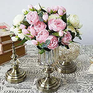 Beautiful Rose Peony Artificial Silk Flowers small bouquet flores home party spring wedding decoration mariage fake Flower 2