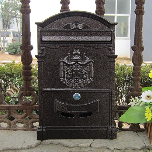 - Traditional Aristocratic, Sun Identity Villa Cast Aluminum Mailboxes 49 Colors Available (05 Coffee Brown Wave)